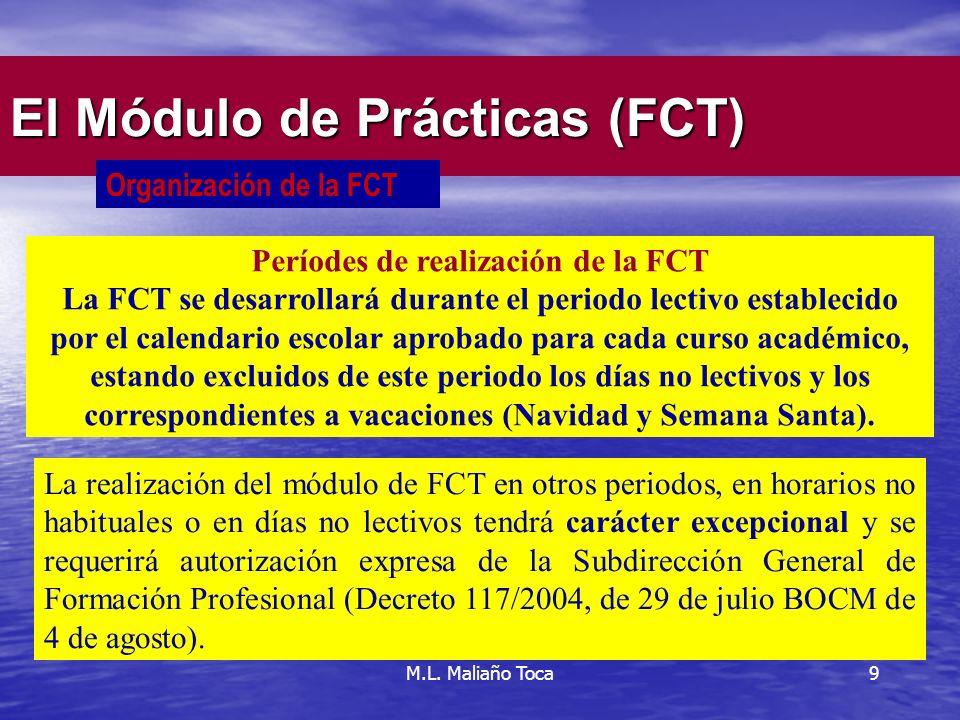 9 El Módulo de Prácticas (FCT) Organización de la FCT Períodes de realización de la FCT La FCT se desarrollará durante el periodo lectivo establecido por el calendario escolar aprobado para cada curso académico, estando excluidos de este periodo los días no lectivos y los correspondientes a vacaciones (Navidad y Semana Santa).