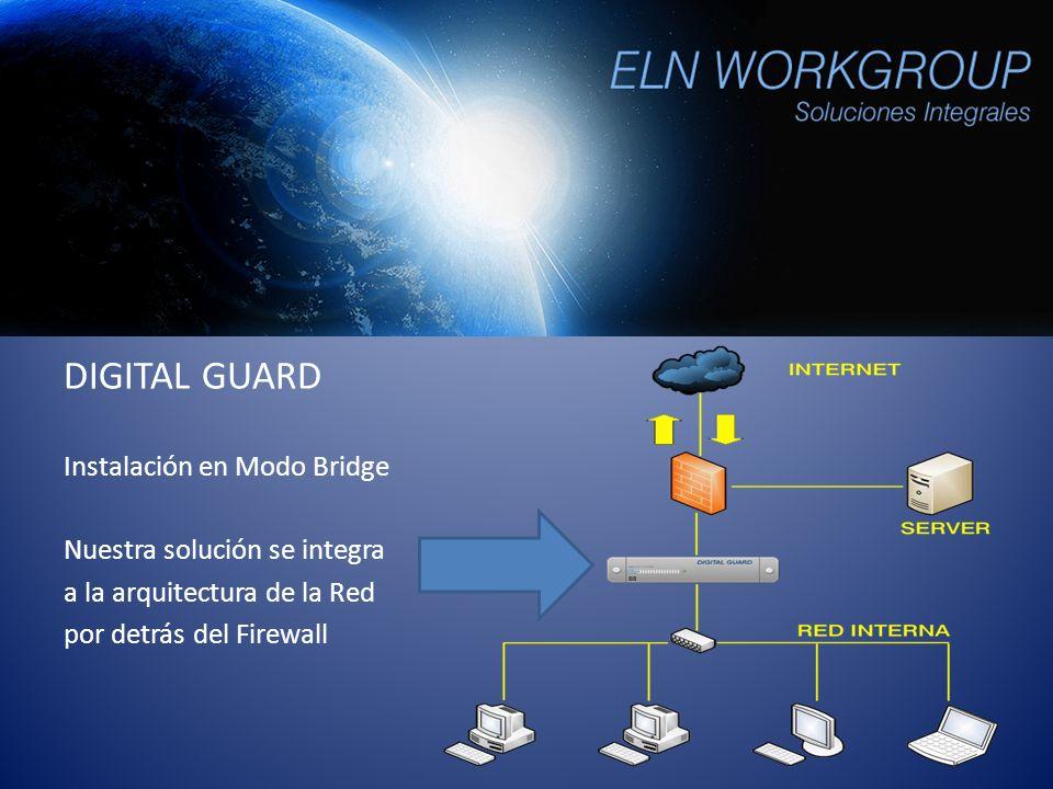 DIGITAL GUARD Instalación en Modo Bridge Nuestra solución se integra a la arquitectura de la Red por detrás del Firewall