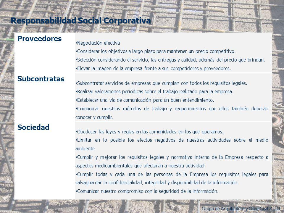 Responsabilidad Social Corporativa Grupo de Arquitectura y Obra Civil S.L.U Proveedores Negociación efectiva Considerar los objetivos a largo plazo pa