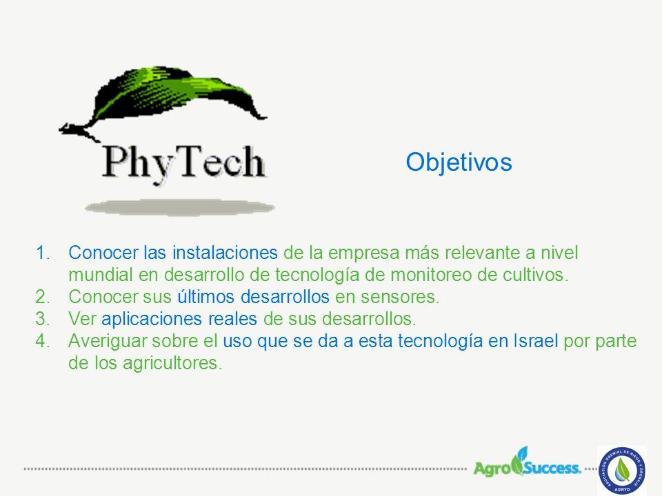 1.Conocer las instalaciones de la empresa más relevante a nivel mundial en desarrollo de tecnología de monitoreo de cultivos. 2.Conocer sus últimos de