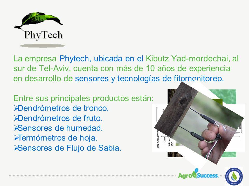La empresa Phytech, ubicada en el Kibutz Yad-mordechai, al sur de Tel-Aviv, cuenta con más de 10 años de experiencia en desarrollo de sensores y tecno