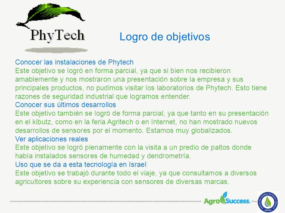 Logro de objetivos Conocer las instalaciones de Phytech Este objetivo se logró en forma parcial, ya que si bien nos recibieron amablemente y nos mostr