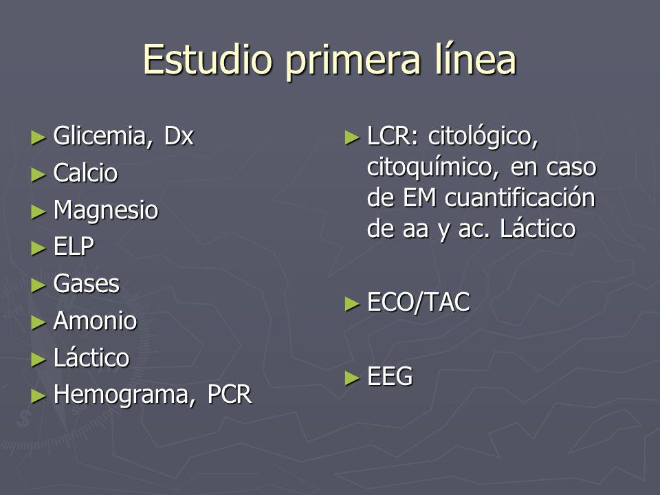Estudio primera línea Glicemia, Dx Glicemia, Dx Calcio Calcio Magnesio Magnesio ELP ELP Gases Gases Amonio Amonio Láctico Láctico Hemograma, PCR Hemog