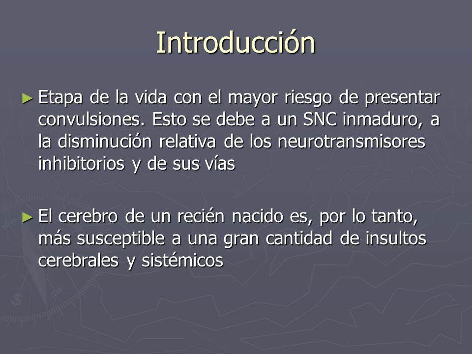 Introducción Etapa de la vida con el mayor riesgo de presentar convulsiones. Esto se debe a un SNC inmaduro, a la disminución relativa de los neurotra