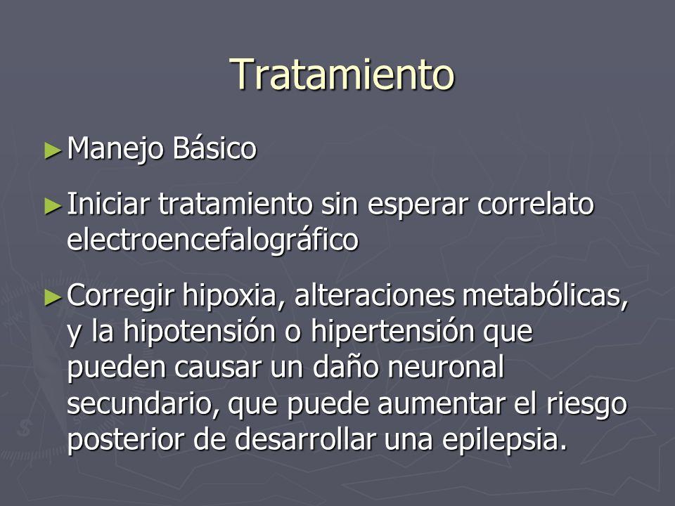 Tratamiento Manejo Básico Manejo Básico Iniciar tratamiento sin esperar correlato electroencefalográfico Iniciar tratamiento sin esperar correlato ele