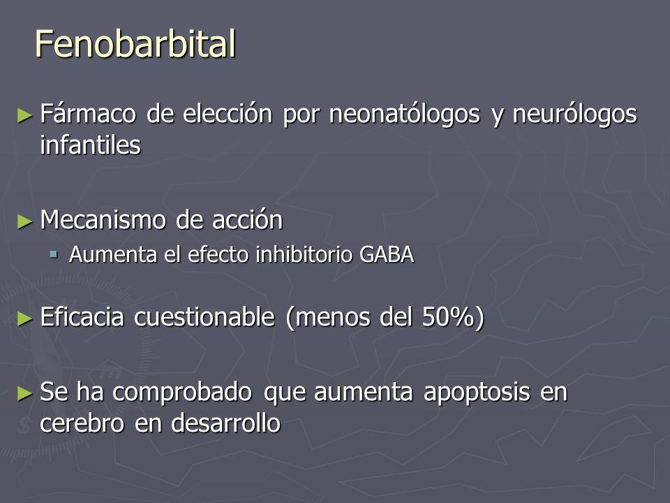 Fenobarbital Fármaco de elección por neonatólogos y neurólogos infantiles Fármaco de elección por neonatólogos y neurólogos infantiles Mecanismo de ac