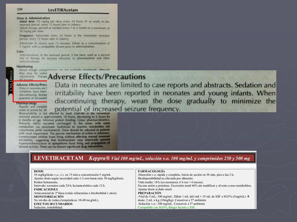 Estudio retrospectivo 6 RN con convulsiones refractarias a tratamiento con fenobarbital (asfixia, hemorragia) Resultados: 3 cese de convulsiones Conclusión Se necesita más estudio para evaluar seguridad y eficacia