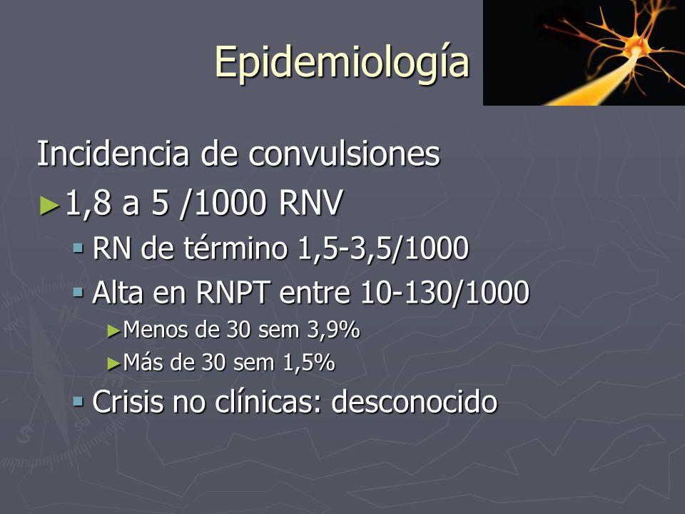 Epidemiología Incidencia de convulsiones 1,8 a 5 /1000 RNV 1,8 a 5 /1000 RNV RN de término 1,5-3,5/1000 RN de término 1,5-3,5/1000 Alta en RNPT entre