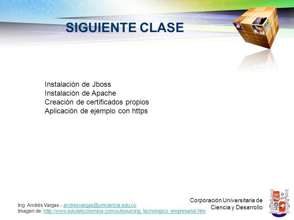 SIGUIENTE CLASE Corporación Universitaria de Ciencia y Desarrollo Ing. Andrés Vargas - andresvargas@uniciencia.edu.coandresvargas@uniciencia.edu.co Im
