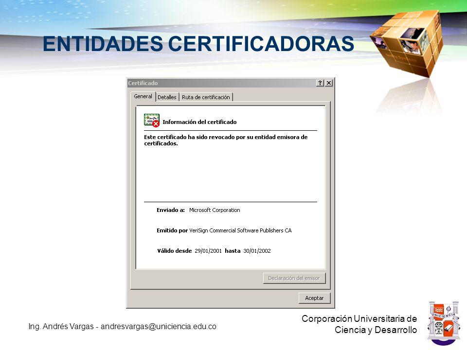 CERTIFICADO DE FIRMA Corporación Universitaria de Ciencia y Desarrollo Ing.