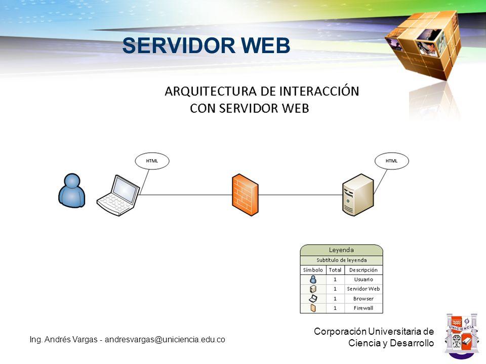 SERVIDOR WEB Corporación Universitaria de Ciencia y Desarrollo Ing. Andrés Vargas - andresvargas@uniciencia.edu.co