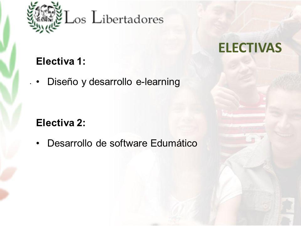 Electiva 1: Diseño y desarrollo e-learning Electiva 2: Desarrollo de software Edumático ELECTIVAS.