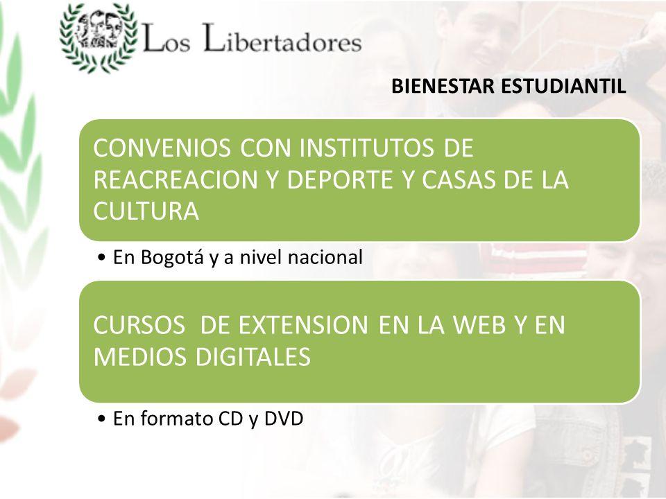 BIENESTAR ESTUDIANTIL CONVENIOS CON INSTITUTOS DE REACREACION Y DEPORTE Y CASAS DE LA CULTURA En Bogotá y a nivel nacional CURSOS DE EXTENSION EN LA W
