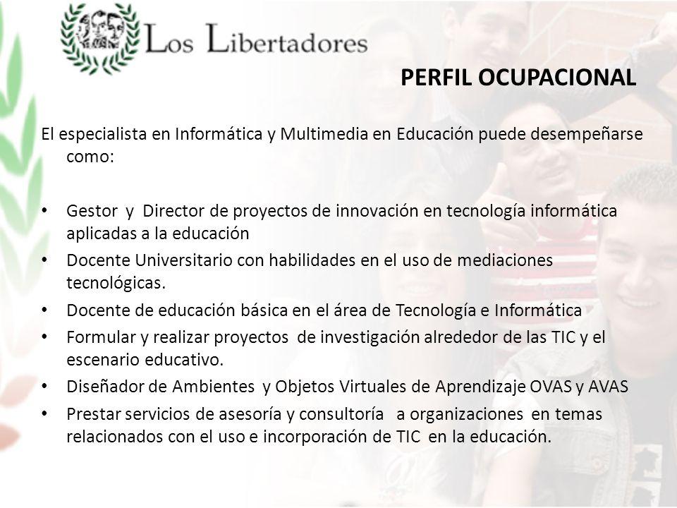 PERFIL OCUPACIONAL El especialista en Informática y Multimedia en Educación puede desempeñarse como: Gestor y Director de proyectos de innovación en t