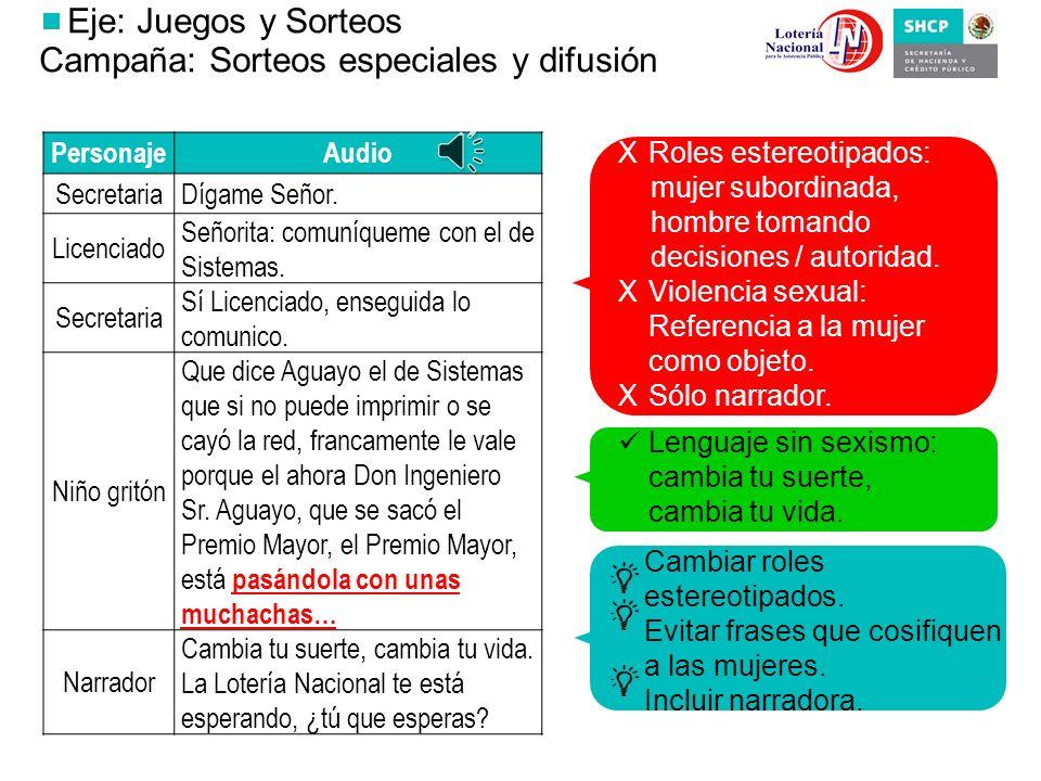 Eje: Juegos y Sorteos Campaña: Progol es un deporte, practícalo Lenguaje sin sexismo: …ganará quien acierte…; ¡Juégatela con México! Ilustrar con fútb