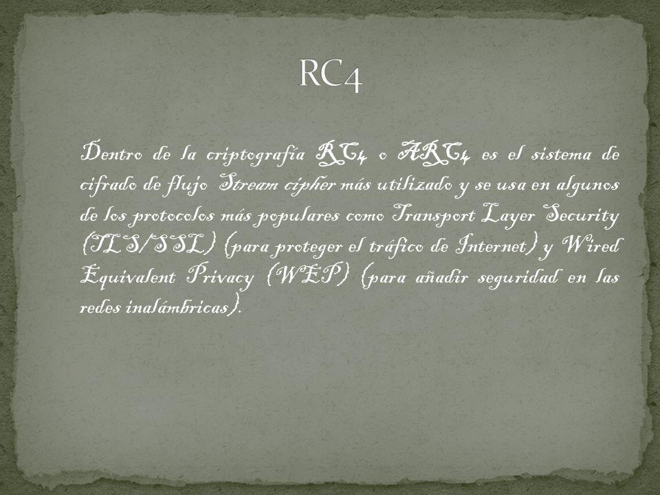 El algoritmo de criptografía RC4 fue diseñado por Ron Rivest de la RSA Security en el año 1987; su nombre completo es Rivest Cipher 4, teniendo el acrónimo RC un significado alternativo al de Ron s Code utilizado para los algoritmos de cifrado RC2, RC5 y RC6.