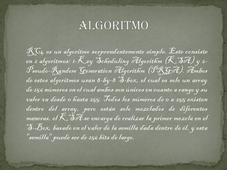 RC4 es un algoritmo sorprendentemente simple. Este consiste en 2 algoritmos: 1-Key Scheduling Algorithm (KSA) y 2- Pseudo-Random Generation Algorithm