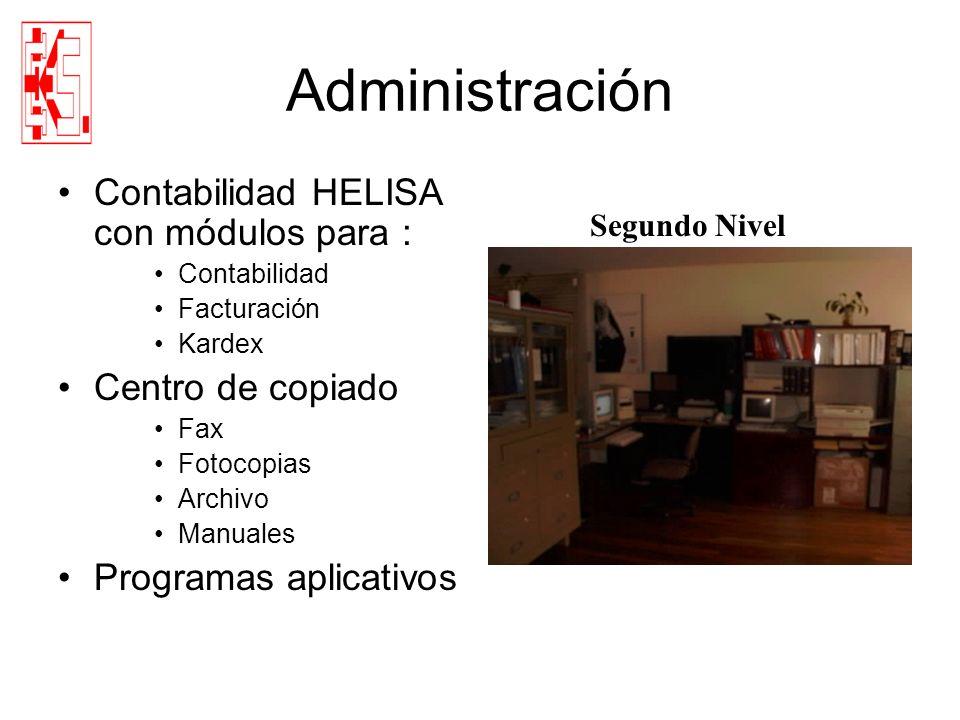 Administración Contabilidad HELISA con módulos para : Contabilidad Facturación Kardex Centro de copiado Fax Fotocopias Archivo Manuales Programas apli