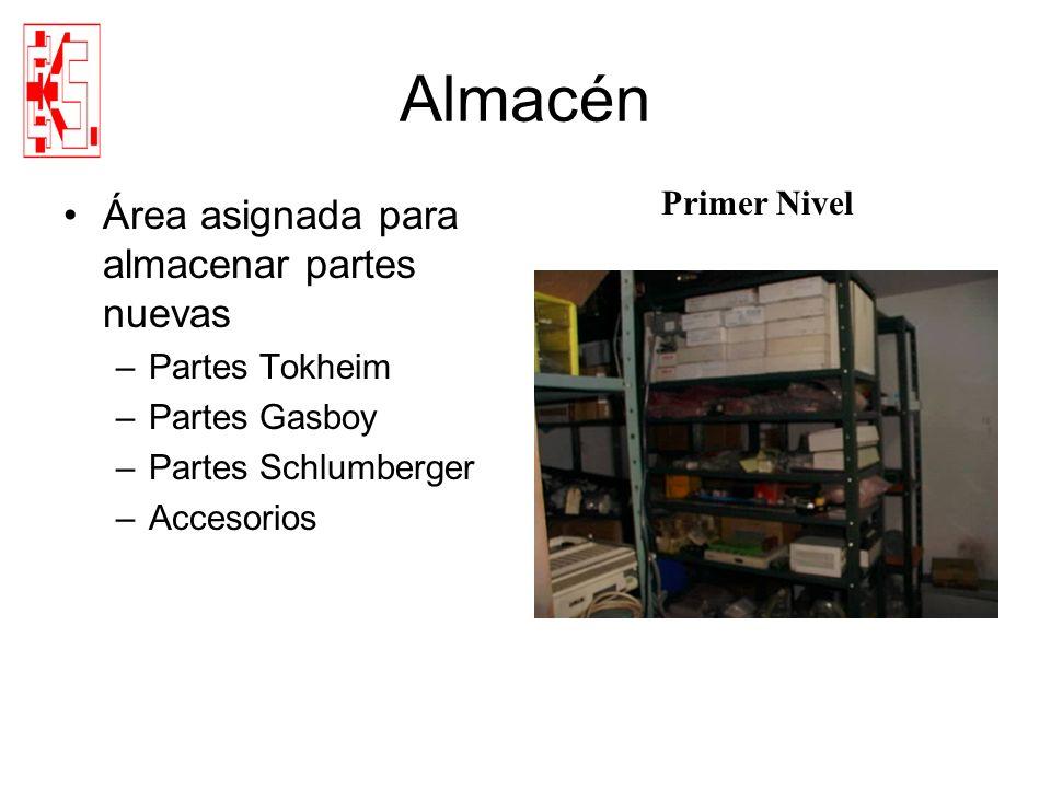 Almacén Área asignada para almacenar partes nuevas –Partes Tokheim –Partes Gasboy –Partes Schlumberger –Accesorios Primer Nivel