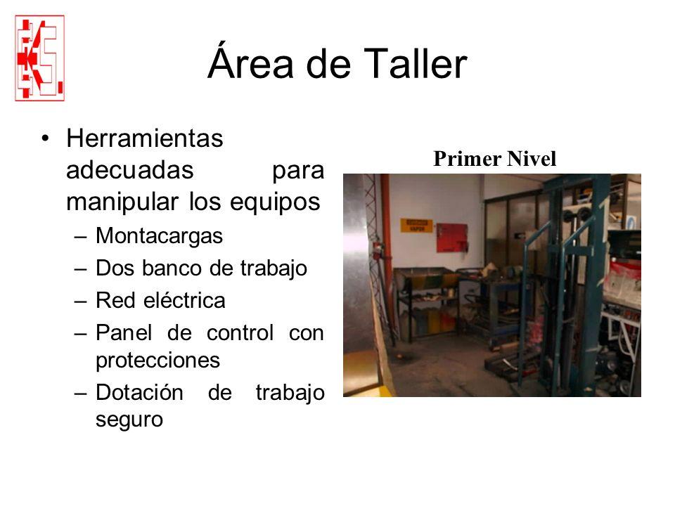 Área de Taller Herramientas adecuadas para manipular los equipos –Montacargas –Dos banco de trabajo –Red eléctrica –Panel de control con protecciones