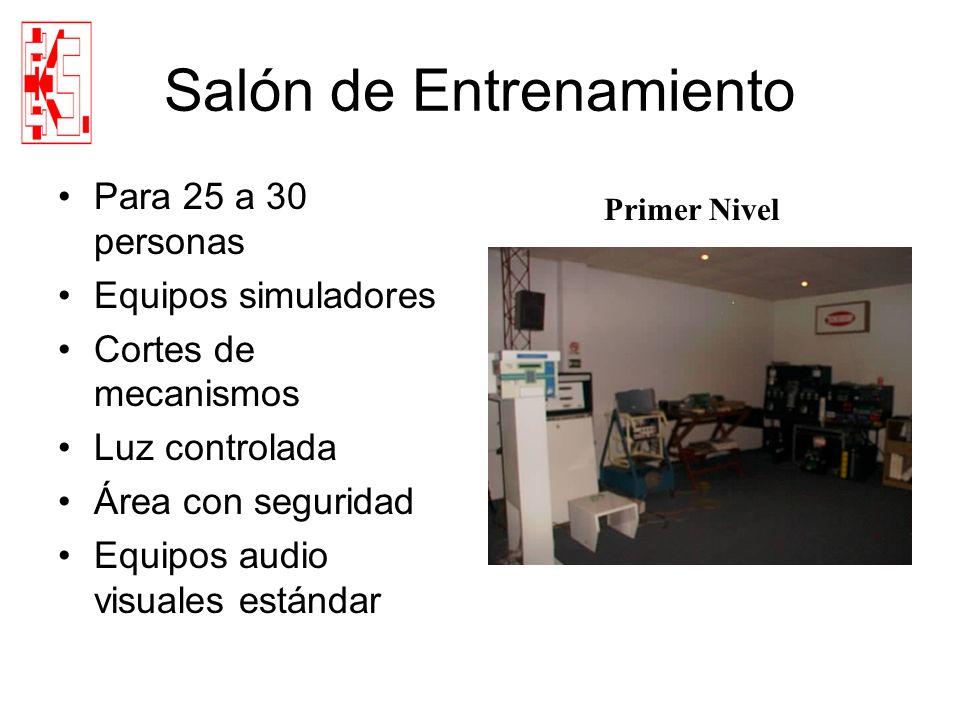 Salón de Entrenamiento Para 25 a 30 personas Equipos simuladores Cortes de mecanismos Luz controlada Área con seguridad Equipos audio visuales estánda