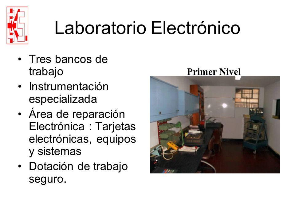 Laboratorio Electrónico Tres bancos de trabajo Instrumentación especializada Área de reparación Electrónica : Tarjetas electrónicas, equipos y sistema