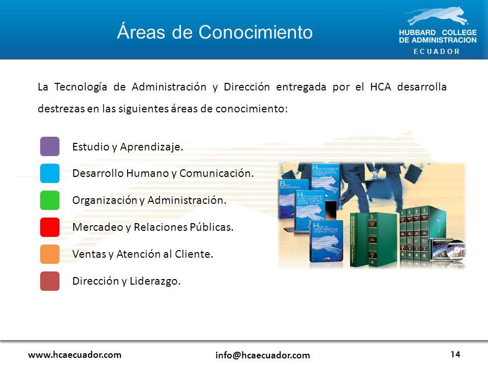 E C U A D O R Áreas de Conocimiento www.hcaecuador.com info@hcaecuador.com 14 La Tecnología de Administración y Dirección entregada por el HCA desarrolla destrezas en las siguientes áreas de conocimiento: Estudio y Aprendizaje.