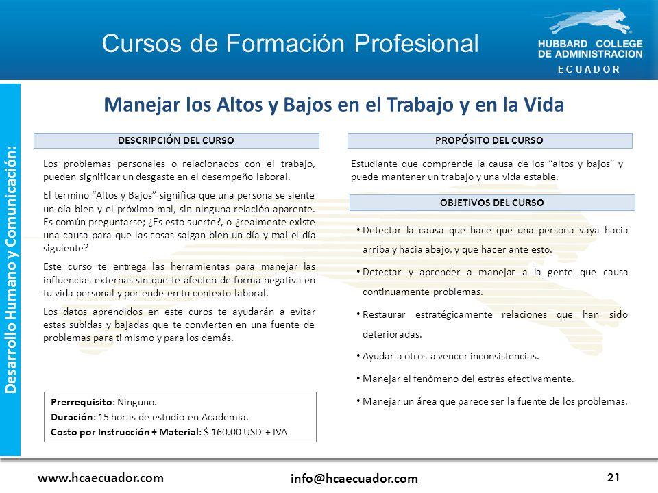E C U A D O R www.hcaecuador.com info@hcaecuador.com 21 Desarrollo Humano y Comunicación: Los problemas personales o relacionados con el trabajo, pueden significar un desgaste en el desempeño laboral.