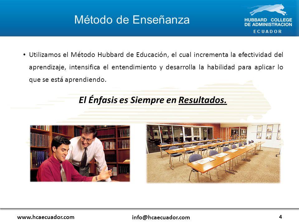 E C U A D O R Método de Enseñanza www.hcaecuador.com info@hcaecuador.com Utilizamos el Método Hubbard de Educación, el cual incrementa la efectividad del aprendizaje, intensifica el entendimiento y desarrolla la habilidad para aplicar lo que se está aprendiendo.