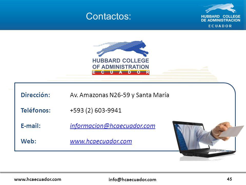 E C U A D O R Contactos: www.hcaecuador.com info@hcaecuador.com 45 Dirección: Av.