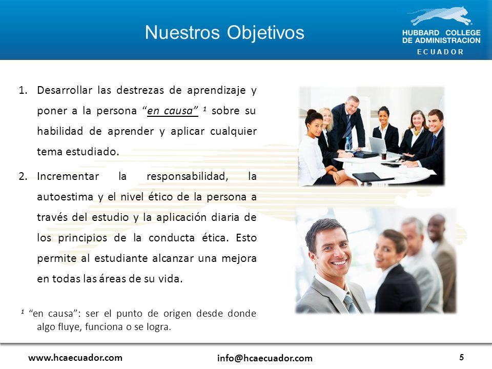 E C U A D O R www.hcaecuador.com info@hcaecuador.com 3.Mejorar las destrezas de comunicación de manera que el estudiante sea capaz de tratar, de manera efectiva, con todo tipo de personas y situaciones tanto en el ámbito laboral, como personal.
