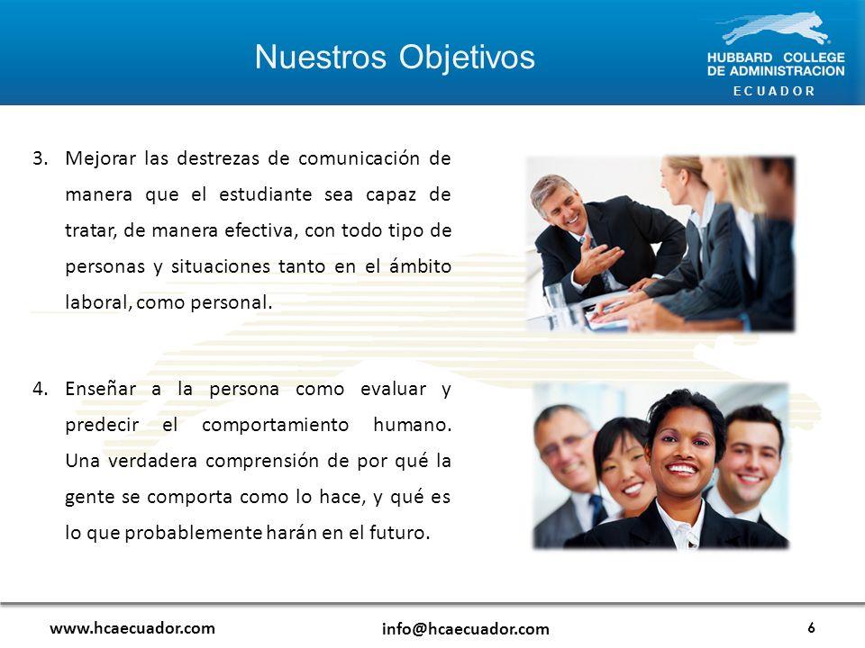 E C U A D O R www.hcaecuador.com info@hcaecuador.com 5.Enseñar a la persona las leyes básicas que gobiernan la supervivencia y expansión de todas las organizaciones y grupos, y la tecnología basada en estas leyes.