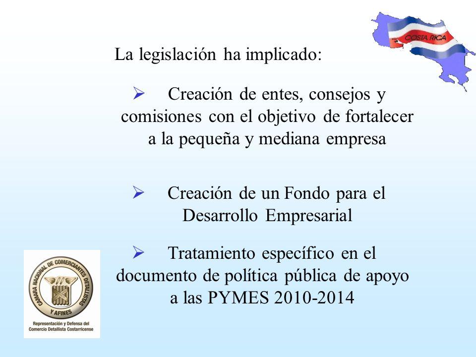 Creación de entes, consejos y comisiones con el objetivo de fortalecer a la pequeña y mediana empresa La legislación ha implicado: Creación de un Fondo para el Desarrollo Empresarial Tratamiento específico en el documento de política pública de apoyo a las PYMES 2010-2014