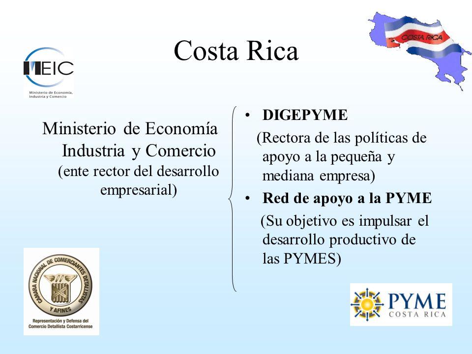 Costa Rica Hay muchos intentos y esfuerzos para promover legislación y políticas de apoyo a las Mipymes En aspectos tales como: Simplificación de trámites Asistencia técnica Capacitación Financiamiento Sistema de Banca para el Desarrollo Documento que contempla toda la política pública de fomento a la PYME y al Emprendedurismo 2010- 2014