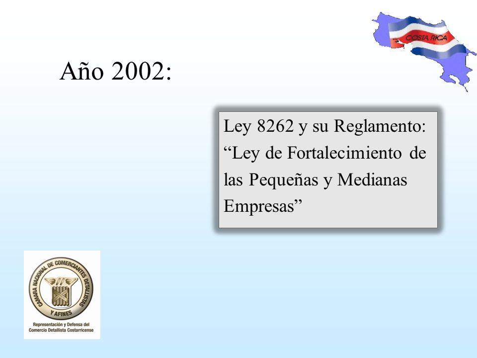 Año 2002: Ley 8262 y su Reglamento: Ley de Fortalecimiento de las Pequeñas y Medianas Empresas