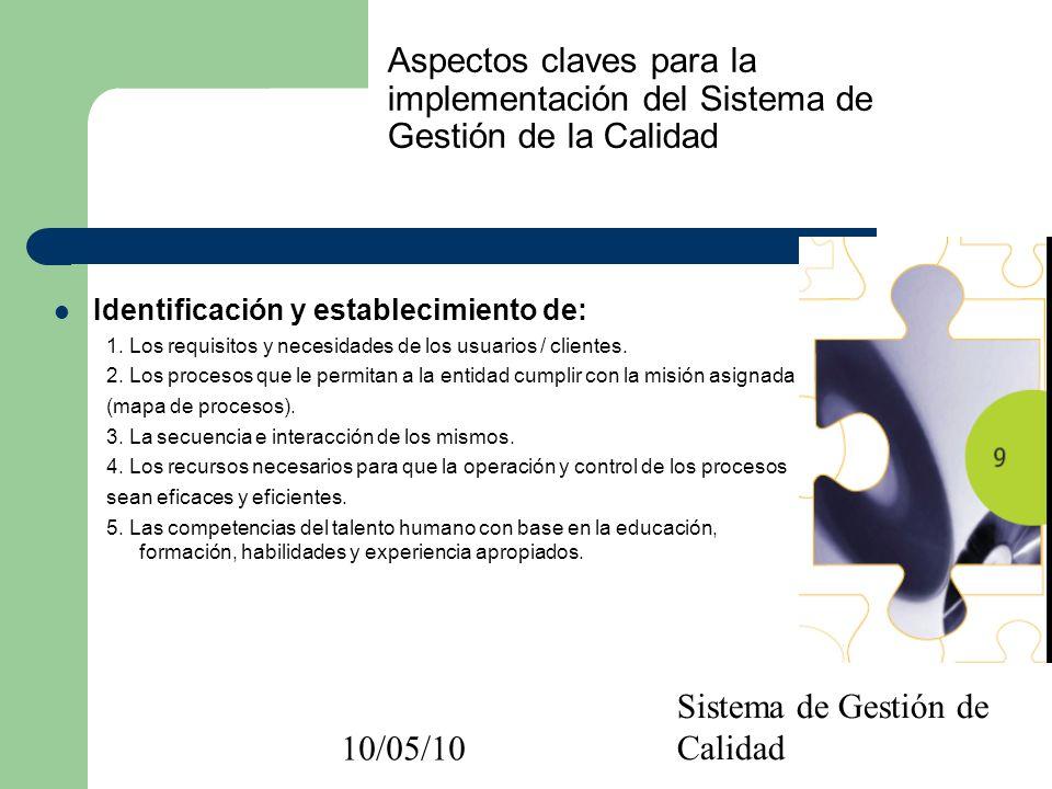 10/05/10 Sistema de Gestión de Calidad Aspectos claves para la implementación del Sistema de Gestión de la Calidad Identificación y establecimiento de