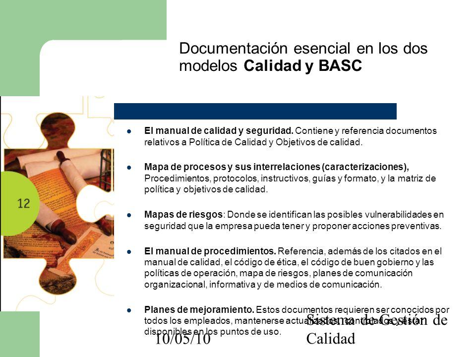 10/05/10 Sistema de Gestión de Calidad Documentación esencial en los dos modelos Calidad y BASC El manual de calidad y seguridad. Contiene y referenci