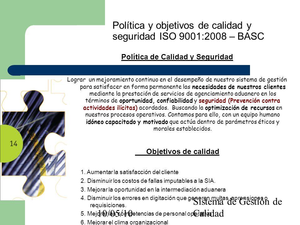 10/05/10 Sistema de Gestión de Calidad Política y objetivos de calidad y seguridad ISO 9001:2008 – BASC Política de Calidad y Seguridad Lograr un mejo
