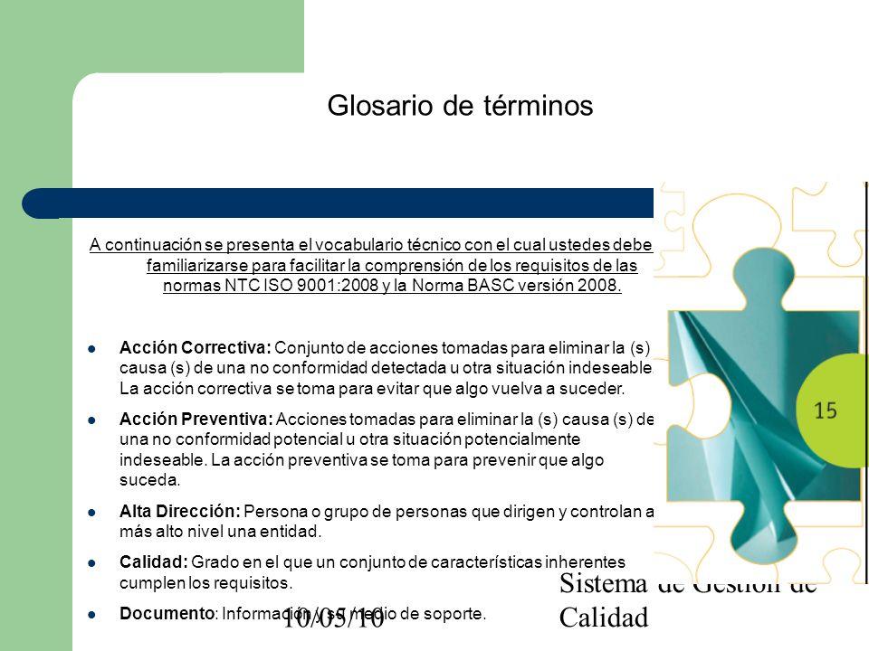 10/05/10 Sistema de Gestión de Calidad Glosario de términos A continuación se presenta el vocabulario técnico con el cual ustedes deben familiarizarse
