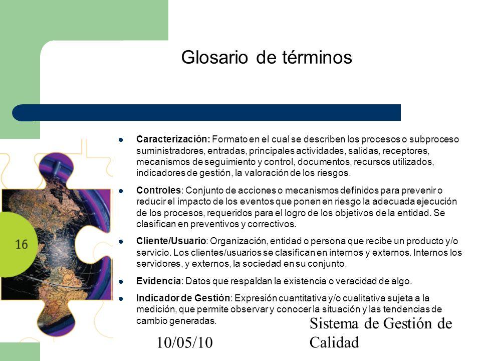 10/05/10 Sistema de Gestión de Calidad Glosario de términos Caracterización: Formato en el cual se describen los procesos o subproceso suministradores