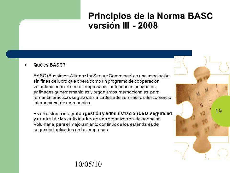 10/05/10 Principios de la Norma BASC versión III - 2008 Qué es BASC? BASC (Bussiness Alliance for Secure Commerce) es una asociación sin fines de lucr