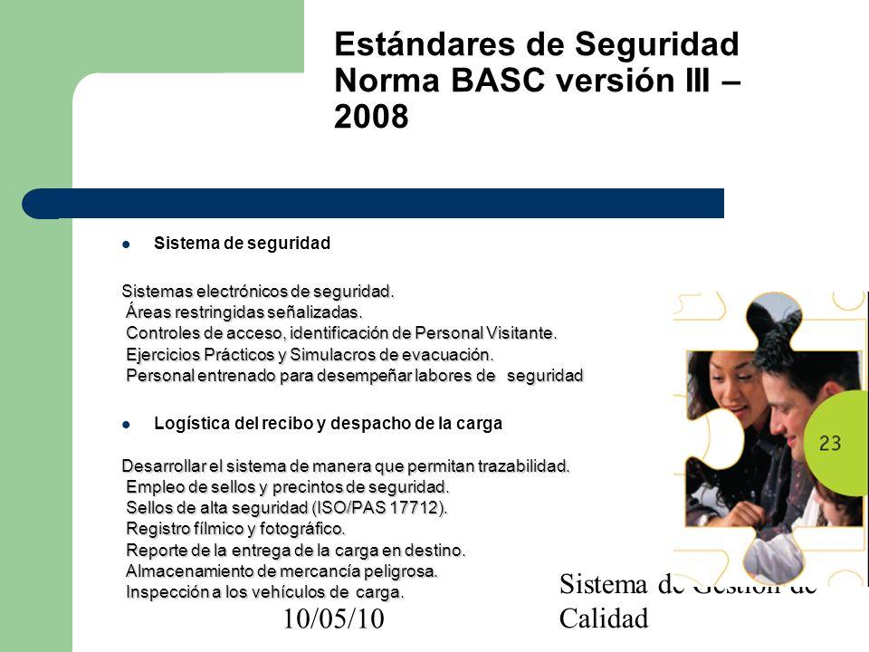 10/05/10 Sistema de Gestión de Calidad Sistema de seguridad Sistemas electrónicos de seguridad. Áreas restringidas señalizadas. Áreas restringidas señ
