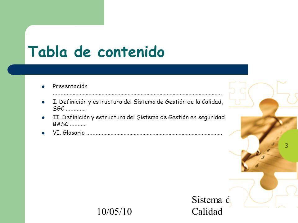 10/05/10 Sistema de Gestión de Calidad Tabla de contenido Presentación................................................................................