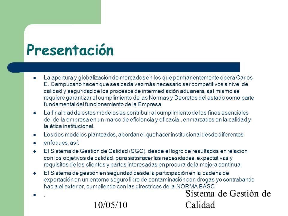 10/05/10 Sistema de Gestión de Calidad Presentación La apertura y globalización de mercados en los que permanentemente opera Carlos E. Campuzano hacen