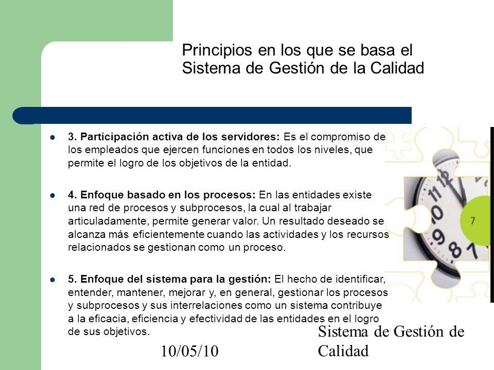 10/05/10 Sistema de Gestión de Calidad Principios en los que se basa el Sistema de Gestión de la Calidad 6.