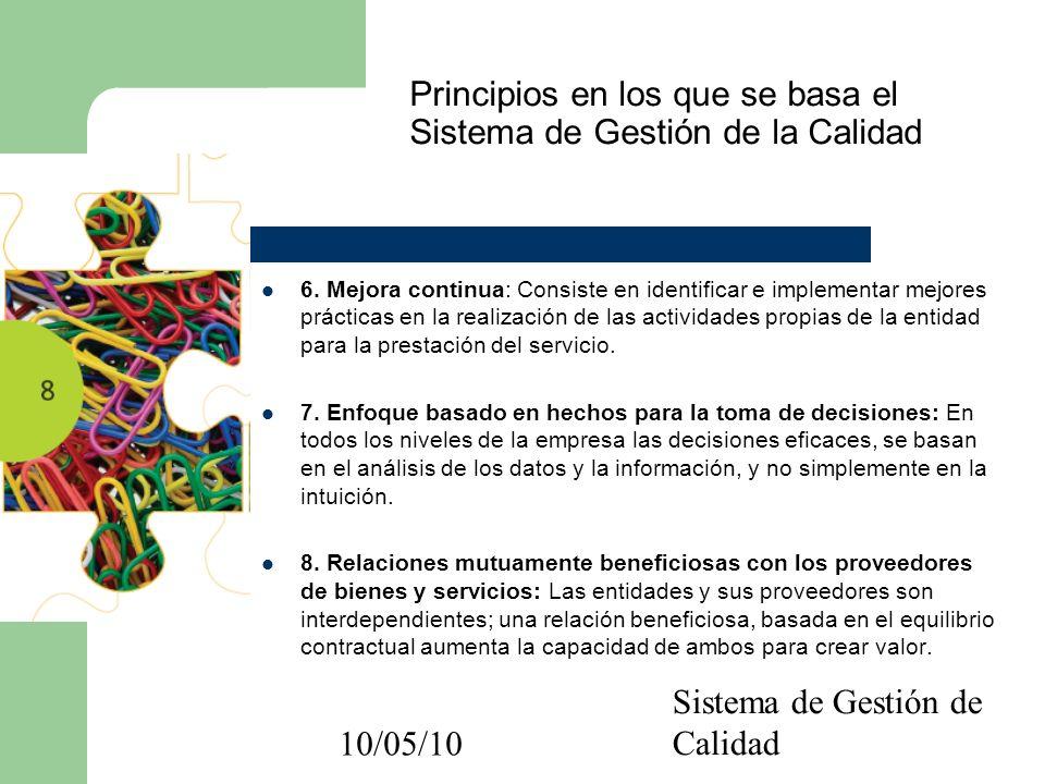10/05/10 Sistema de Gestión de Calidad Principios en los que se basa el Sistema de Gestión de la Calidad 6. Mejora continua: Consiste en identificar e