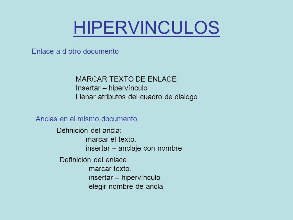 HIPERVINCULOS MARCAR TEXTO DE ENLACE Insertar – hipervínculo Llenar atributos del cuadro de dialogo Enlace a d otro documento Anclas en el mismo docum