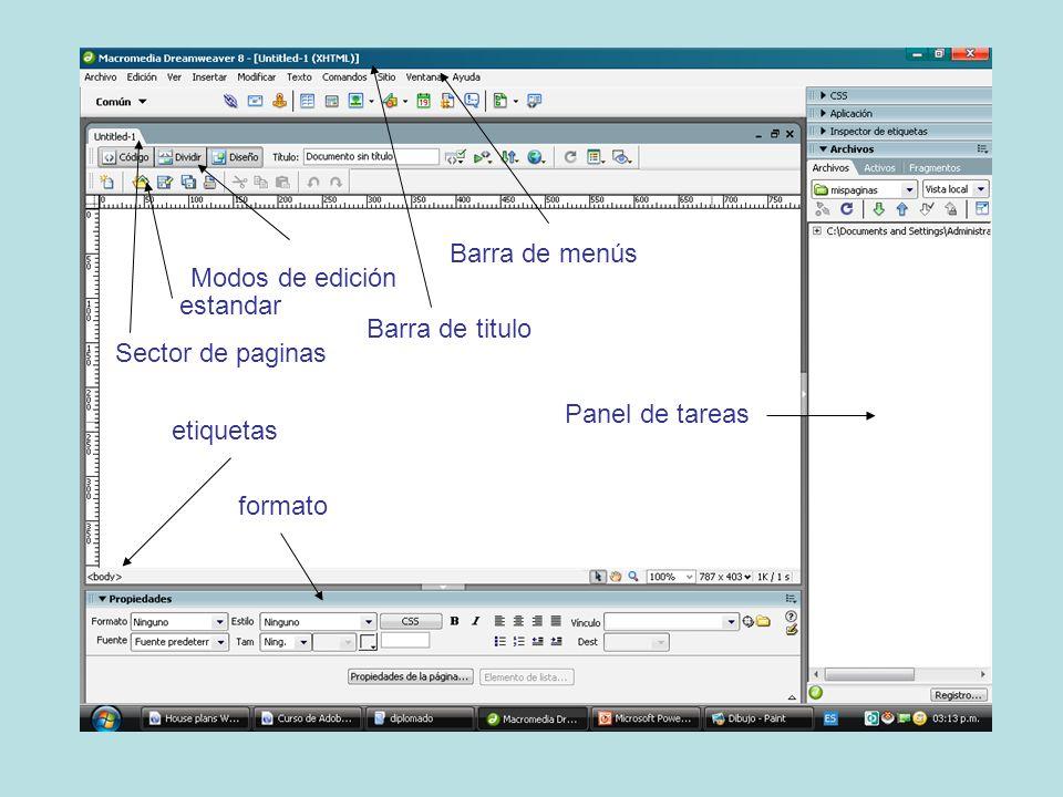 Barra de titulo Barra de menús formato etiquetas Sector de paginas Modos de edición Panel de tareas estandar