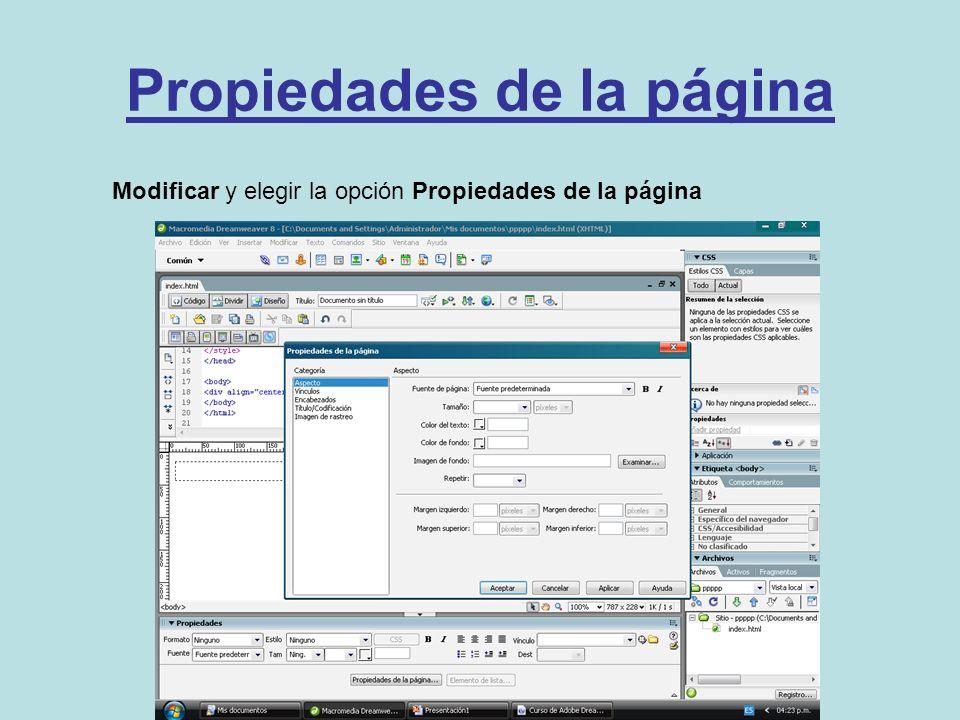 Propiedades de la página Modificar y elegir la opción Propiedades de la página