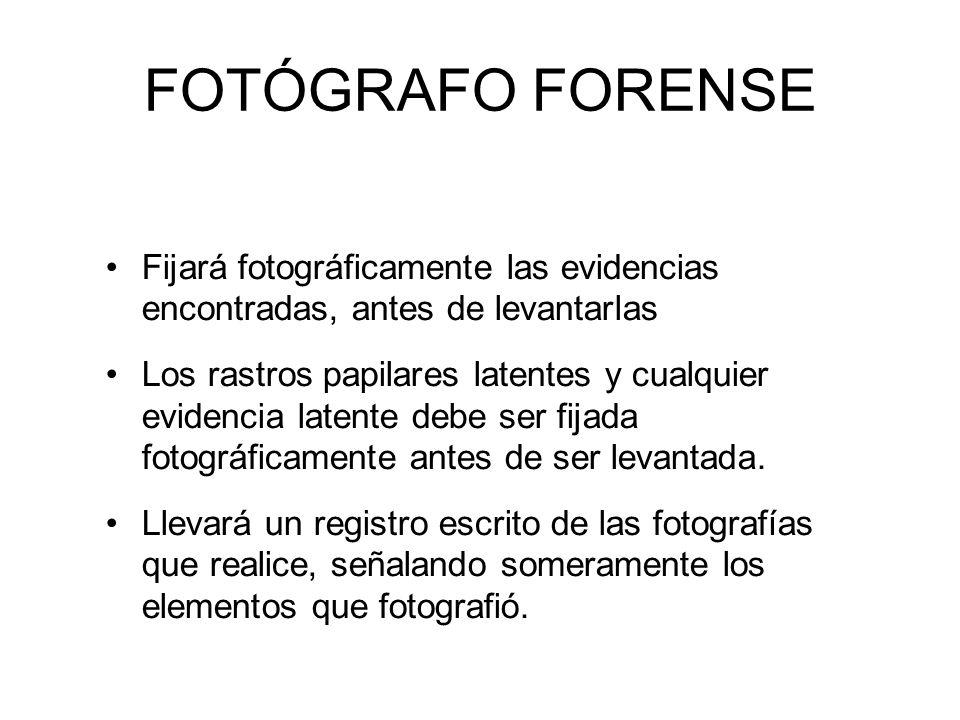 FOTÓGRAFO FORENSE Fijará fotográficamente las evidencias encontradas, antes de levantarlas Los rastros papilares latentes y cualquier evidencia latente debe ser fijada fotográficamente antes de ser levantada.